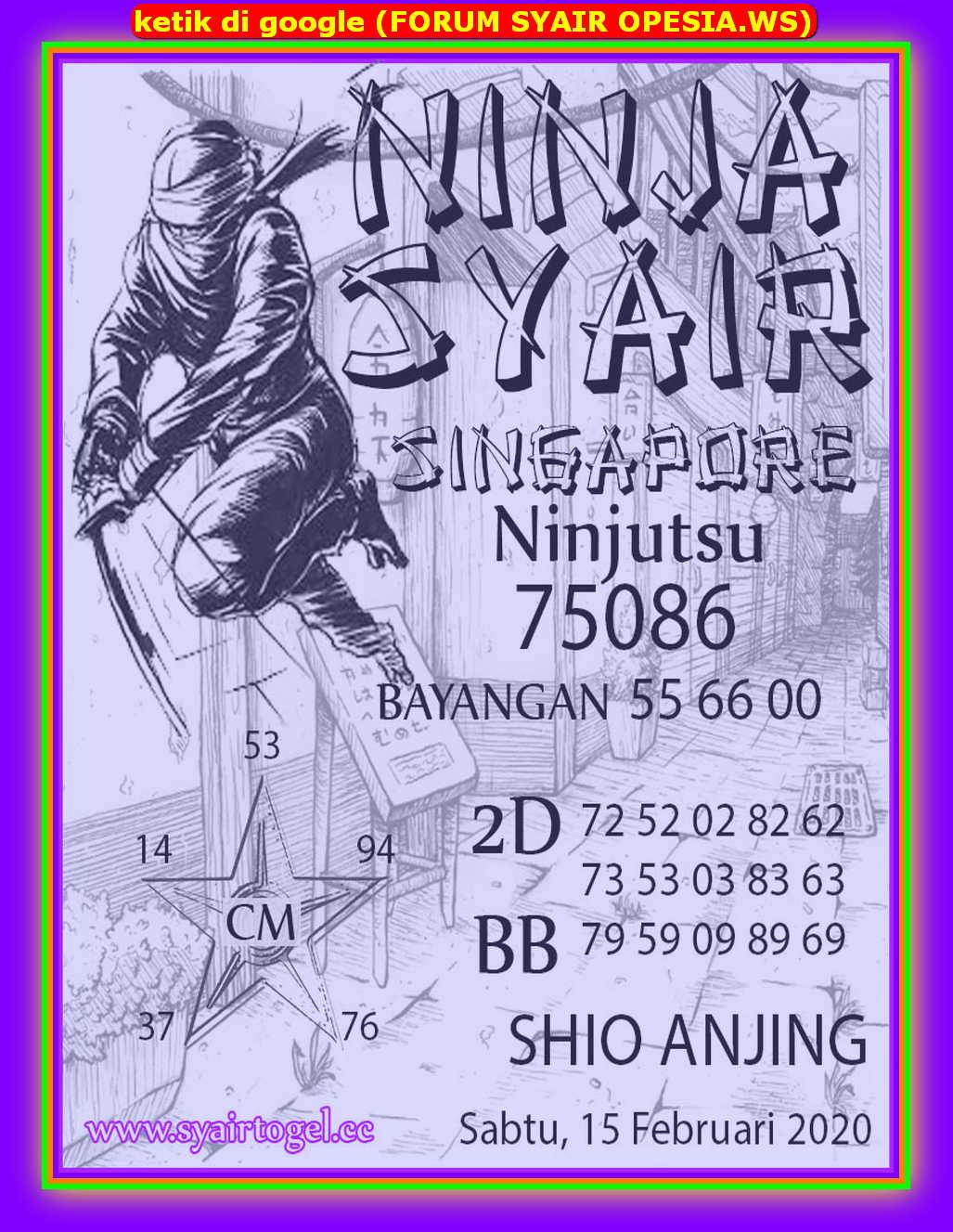 Kode syair Singapore Sabtu 15 Februari 2020 153