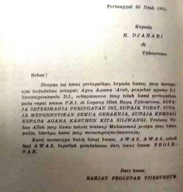 Terungkap! Ini Surat Ancaman PKI Tahun 1953, Sebut Islam Agama Arab