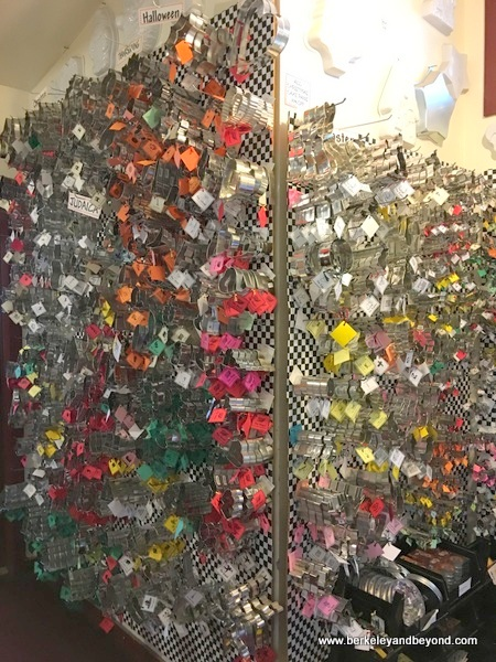 wall of cookie cutters at Here's the Scoop in Jamestown, California