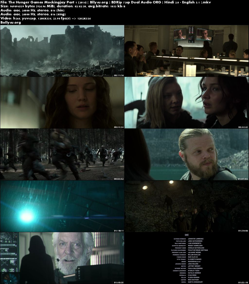 The Hunger Games Mockingjay Part 1 2014 BDRip 400Mb Hindi Dual Audio Download