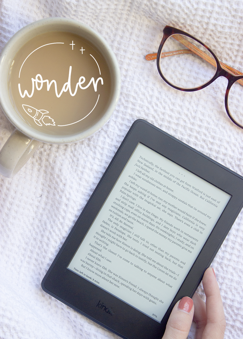 Book and movie review of Wonder by R. J. Palacio - kindle flatlay