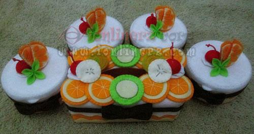 Jual Kotak / Sarung / Tempat Tisu, Toples Kue Flanel Set Karakter Kartun Blossom Lemonade Orange