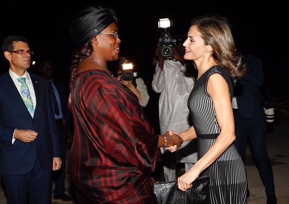 Queen Letizia wore Hugo Boss Franca Stretch Cotton Dress. Letizia met with First Lady Marieme Faye Sall in Dakar