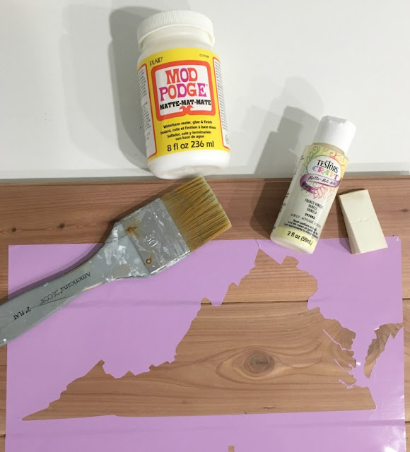 Celebrate your home state with a hand painted cedar sign using a vinyl made with my Cricut.