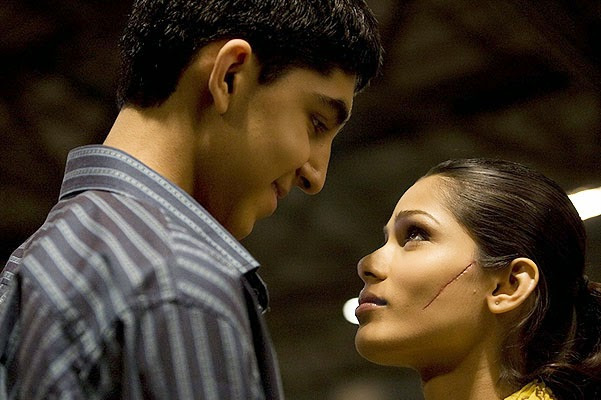 Dev Patel and Freida Pinto in the film Slumdog Millionaire