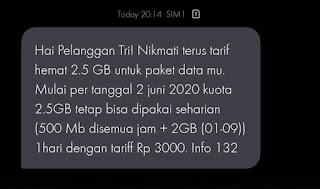 Tri 2,5GB sehari berubah   dari FB