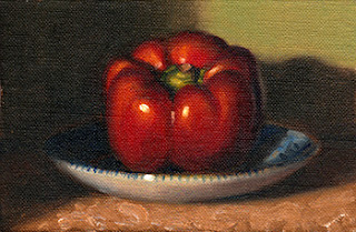 Oil painting of a red pepper on a blue and white saucer.