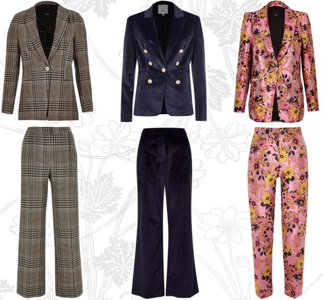 Blogger shop tip pakken voor vrouwen opvallende power suit met ruiten bloemen van fluweel