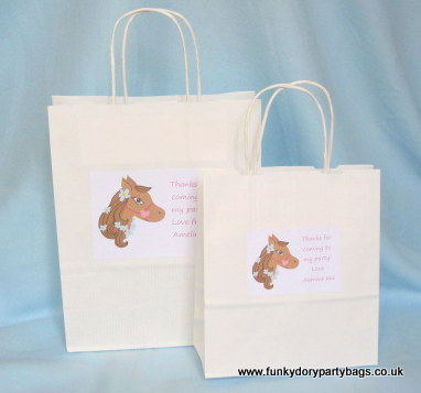 Following many requests for a horse or pony themed party bag im pleased to introduce pip the pony available on printed cotton party bags personalised pe