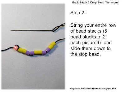 Click the image to view the beaded back stitch beading tutorial image larger.