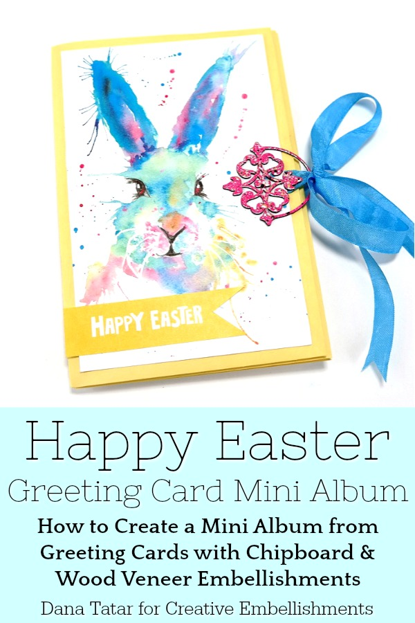 Happy Easter Greeting Card Mini Album with Chipboard and Wood Veneer Embellishments