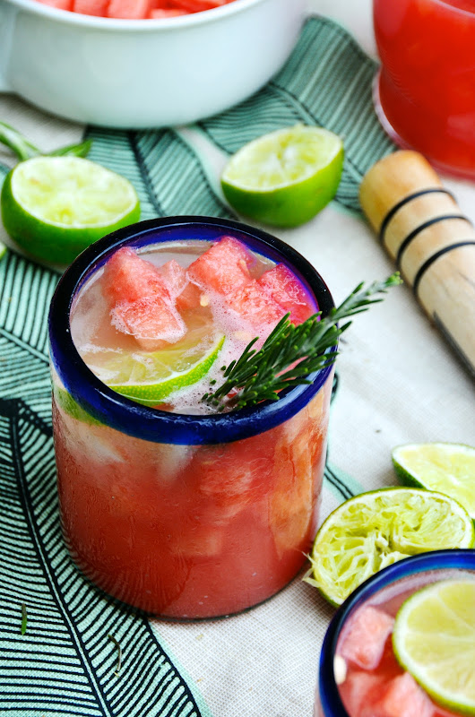 Rosemary & Fresh Watermelon Margaritas