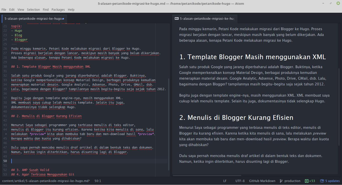 Penulisan Artikel Hugo menggunakan teks editor Atom