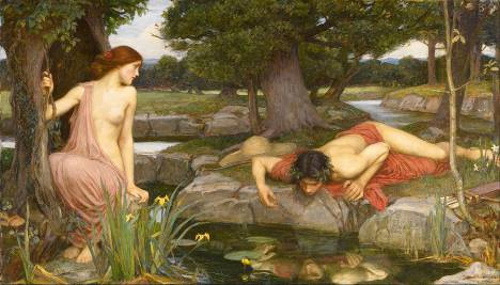 Eco e Narciso, pintura de John William Waterhouse. #PraCegoVer