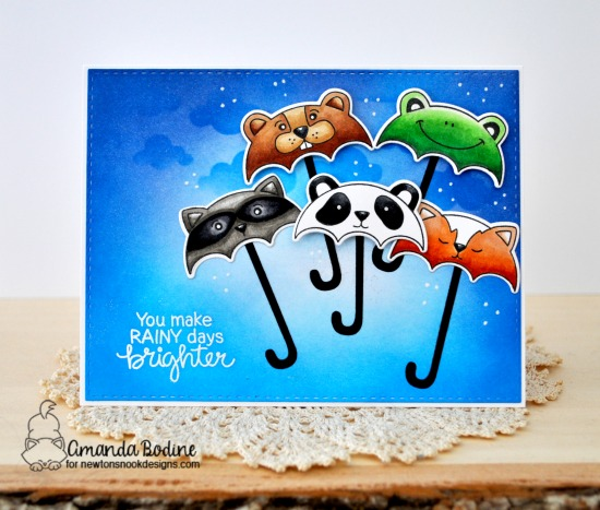 Umbrella Animals Card by Amanda Bodine | Umbrella Pals Stamp Set and Cloudy Sky Stencil by Newton's Nook Designs #newtonsnook #handmade