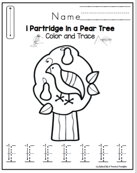 12 Days of Christmas Number Tracing and Coloring Sheets