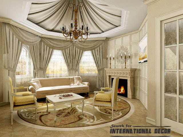 Modern Classic Living Interior False Ceiling Curtain Designs