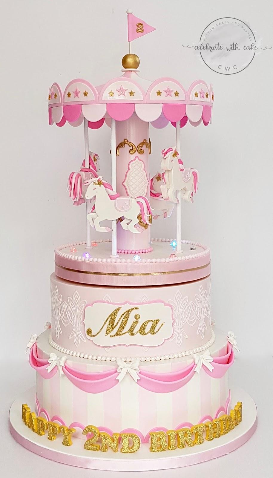 Stupendous Celebrate With Cake Rotating Carousel 1St Birthday Cake Personalised Birthday Cards Akebfashionlily Jamesorg