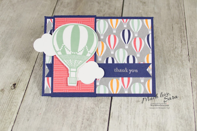 Hot Air Balloon Gift Card Envelope made with the Stampin Up Envelope Punch Board