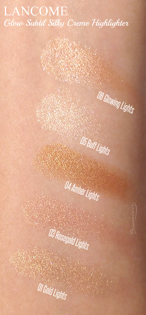 swatches of Lancome Glow Subtil Silky Creme Highlighter Glowing Lights, Rosegold, Amber, Buff, Gold all shades