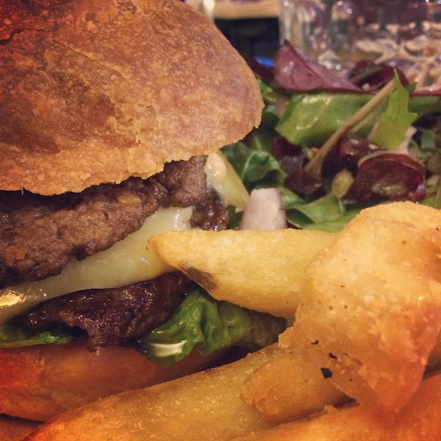 burger, duck fat chips, salad, Dexter beef