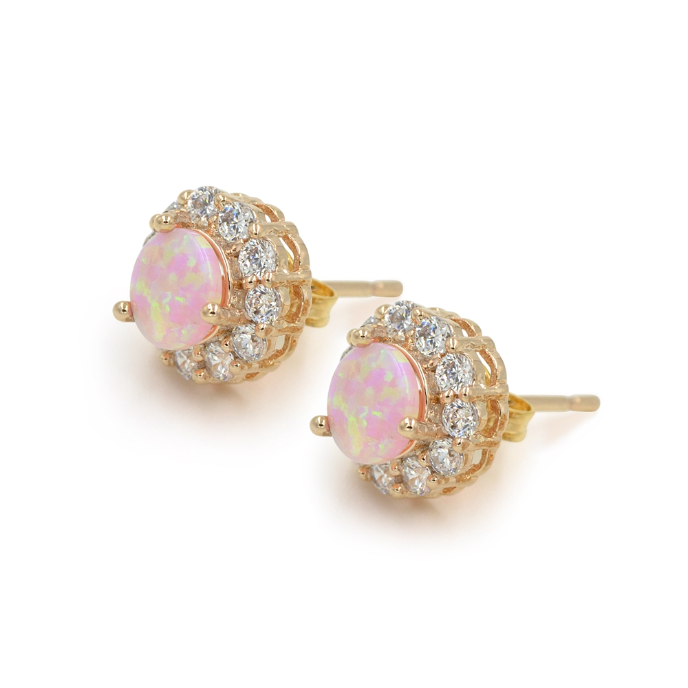 Product Review- Simulated Pink Opal CZ Rose Gold Stud Earrings