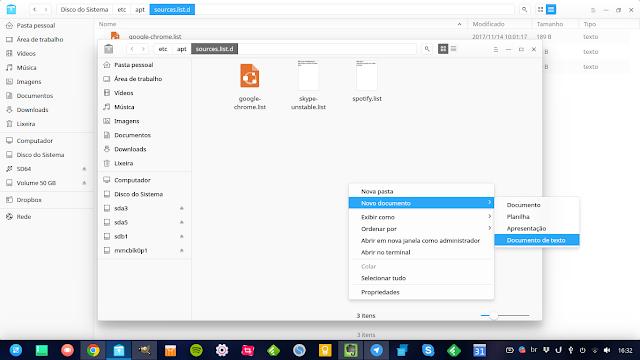Configuração de listas de repositório no Deepin