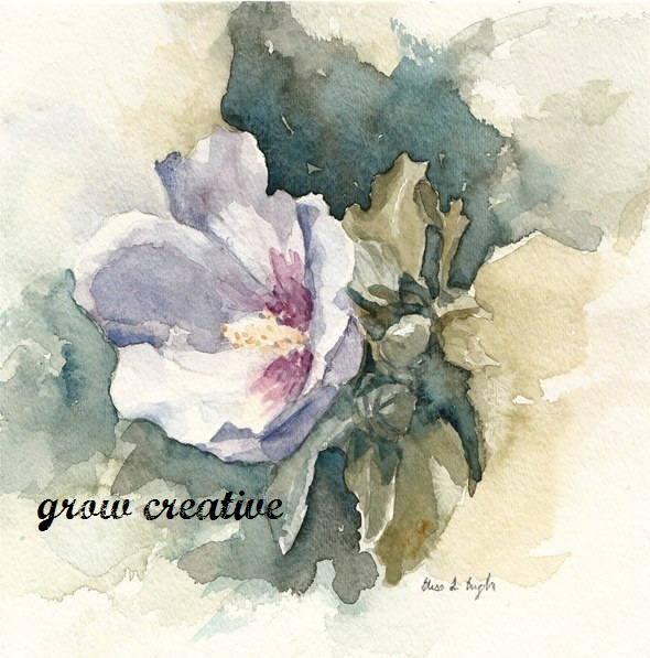 purple flower watercolor