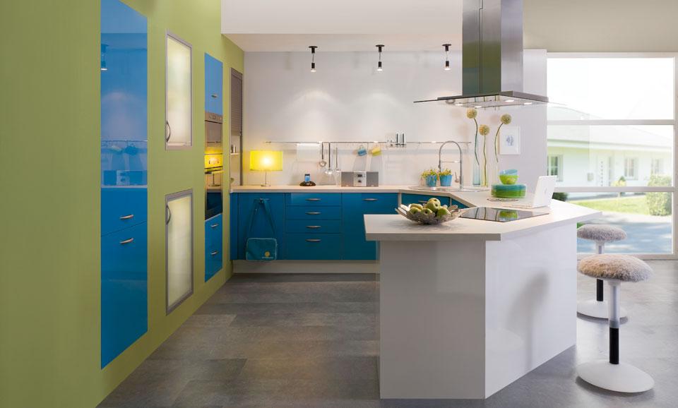 Moderno Verde Azulado Paredes De La Cocina Azules Composición ...