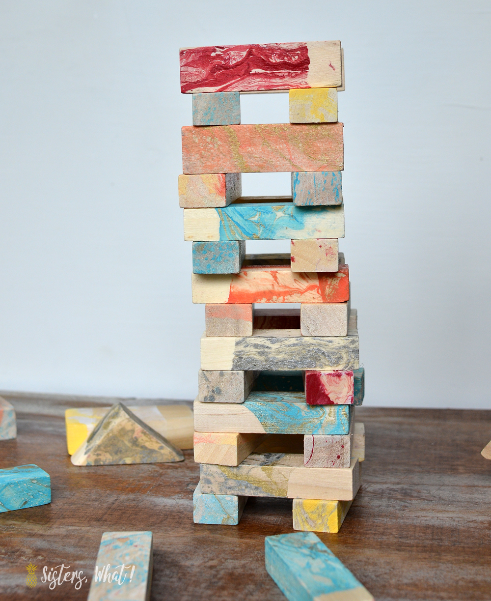 upcycled jenga blocks - marbleized and colorfully painted