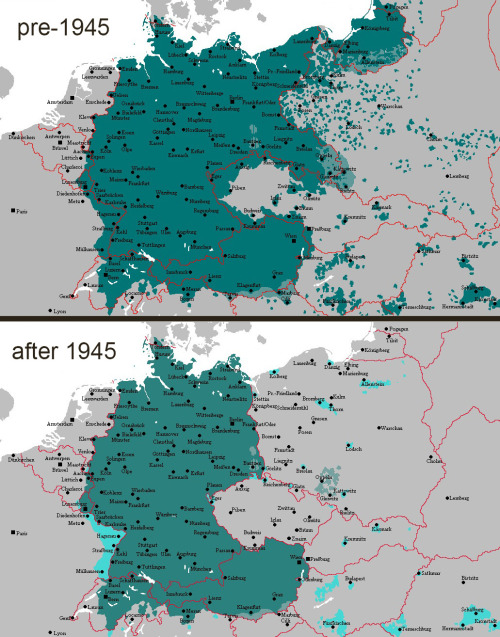 German speaking areas in Europe before & after 1945