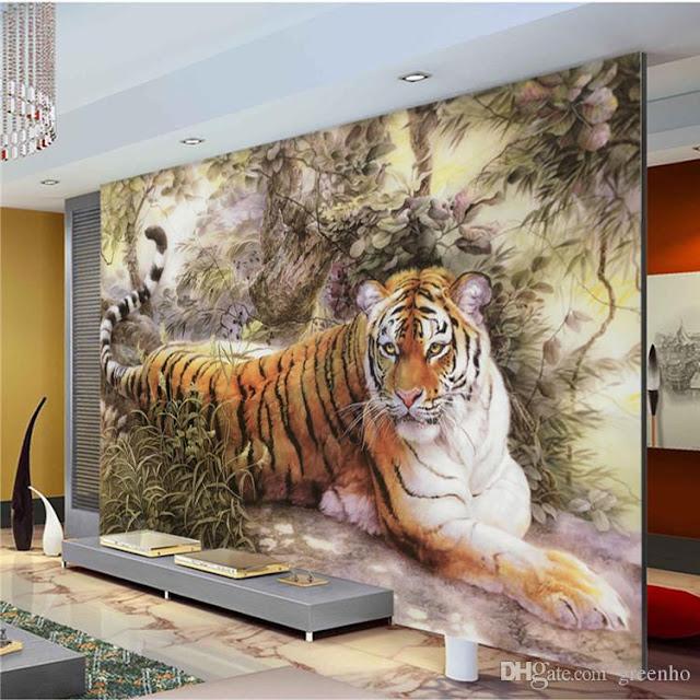 djur tapet tiger fototapet vardagsrum cool tapet