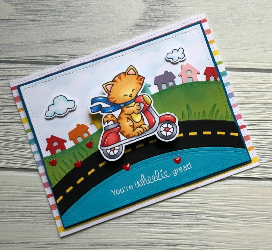 You're Wheelie Great Card by June Guest Designer Megan Quinn |  Newton Scoots By Stamp Set by Newton's Nook Designs #newtonsnook #handmade