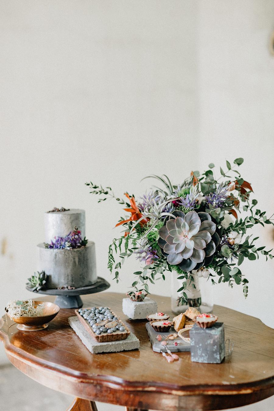 silver cake succulents dessert bar