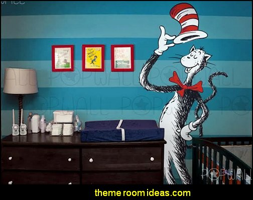 Dr Seuss Giant Cat in the Hat holding hat , Baby Wall Decal Wall Sticker