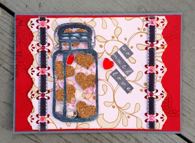 Mason Jar Card With Hearts and Gems