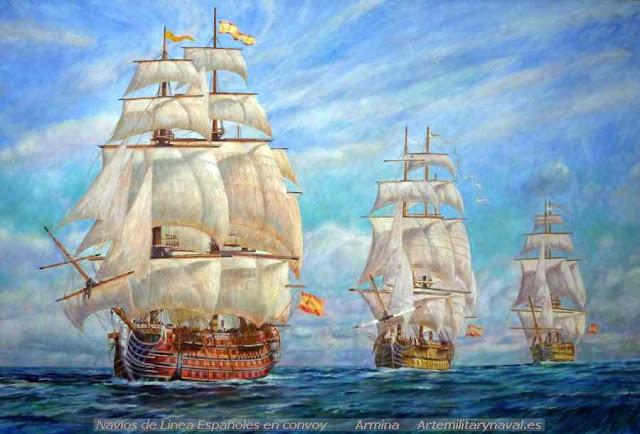 Oleo convoy Marina Española con Santísima Trinidad en cabeza.obra de Armina