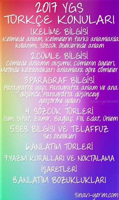 2017 YGS Türkçe Konuları
