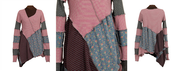 upcycled tunic with stripes and prints from secret lentil clothing