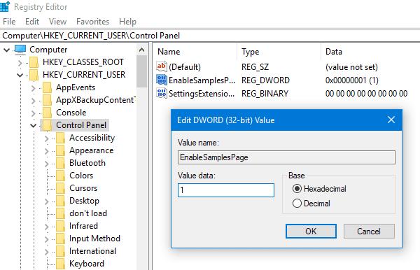 Mengaktifkan Halaman Sampel di Aplikasi Settings pada Windows 10
