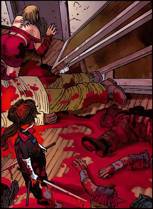 Hit-Girl stands in a pool of blood