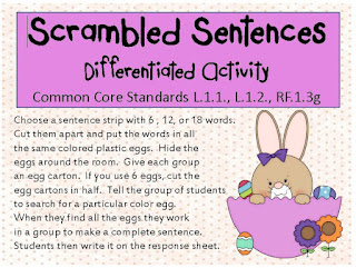 New Differentiated Activity for Sentence Word Order | Little Priorities