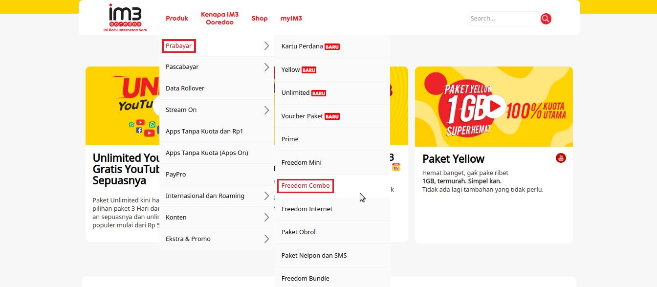 Cara Membeli Paket Internet Indosat Melalui Situs Resminya Kuota Freedom Combo L