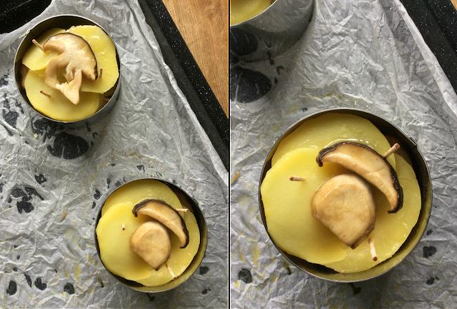 torretta di patate e porcini freschi con fonduta di parmigiano