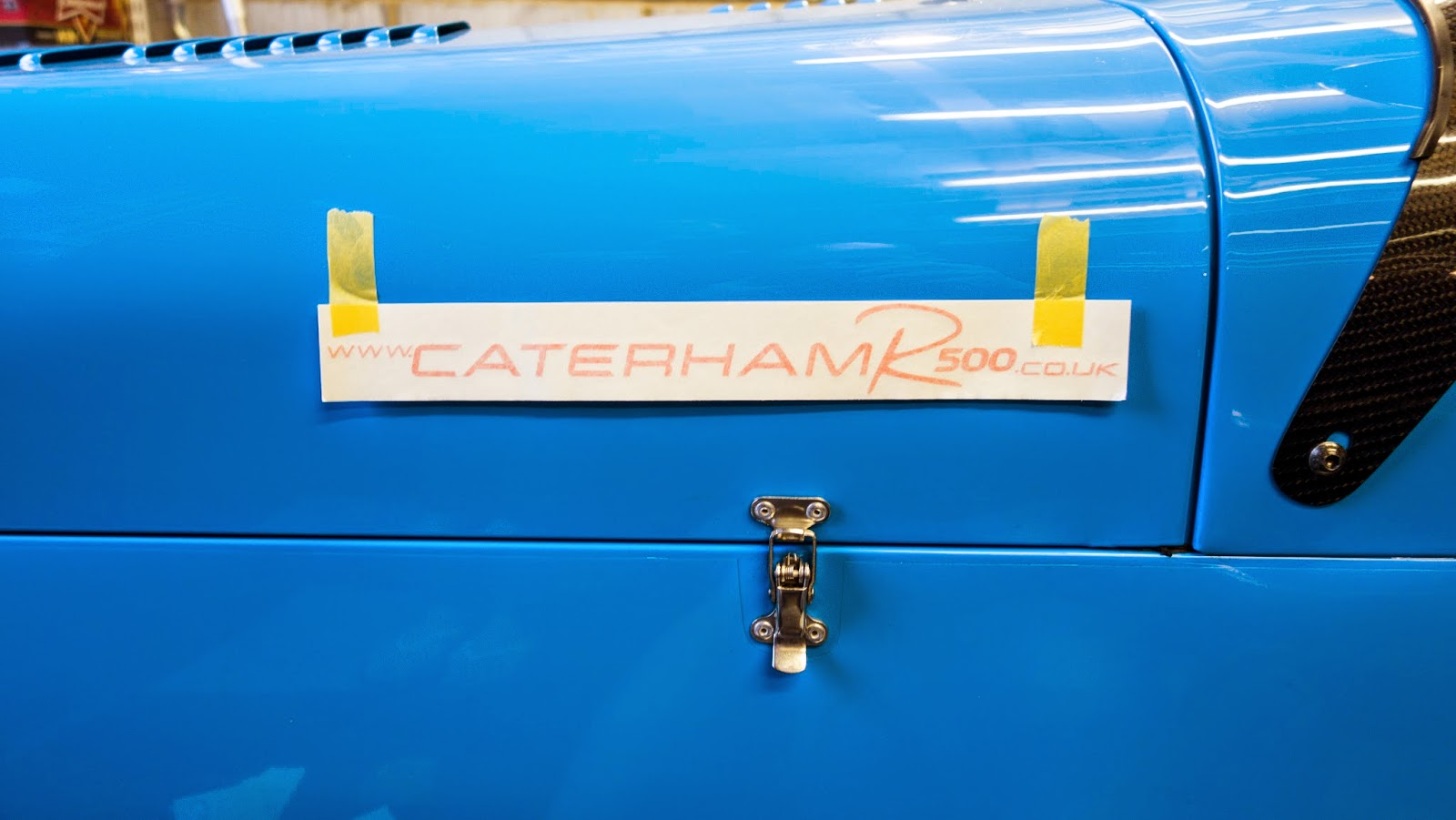 www.caterhamr500.co.uk decal lined up, ready for fitting.