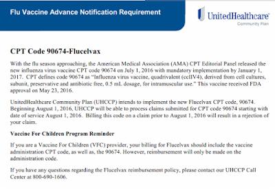 cpt code 90674 - UHC update