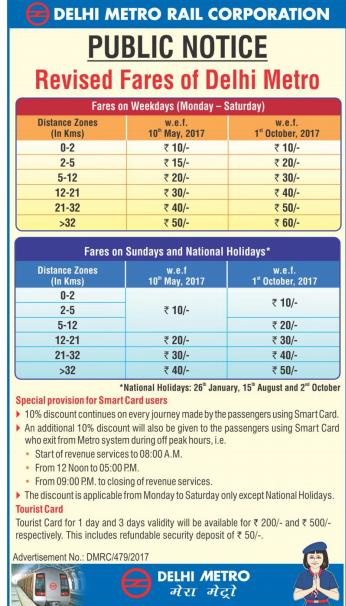 Delhi Metro New Fare List Chart - 10 May 2017 - z7news
