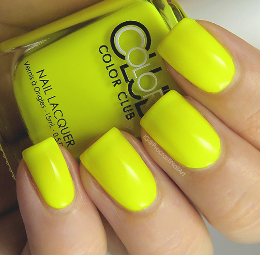 Neon yellow creme nail polish