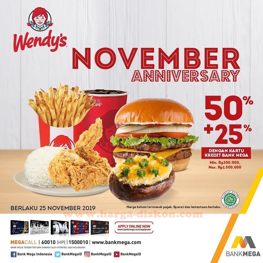 Promo Wendys November Anniversary Diskon 50 Periode 25 November 2019 Harga Diskon