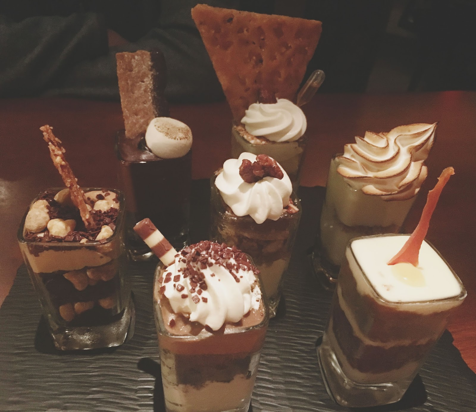 desserts at Seasons 52, a restaurant in Houston, Texas